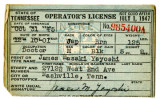Card, State of Tennessee Operator's License, James Masaki Yayoshi