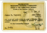 Permit, Travel, Western Defense Command,  James M. Yayoshi
